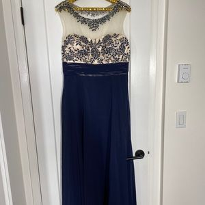 Laura Long Maxi dress gown floral detail in blue